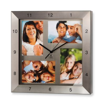 Cupecoy 13-Inch Square Metal Photo Clock