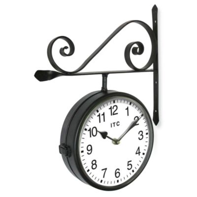 Double-Sided Metal Railway Station Clock