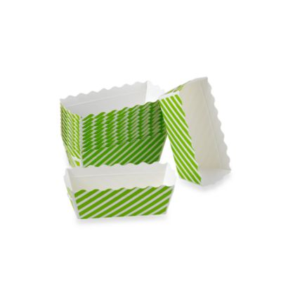 Rectangular Mini Loaf Paper Baking Pans in Green Stripe (Set of 12)
