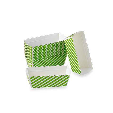 Buy Rectangular Mini Loaf Paper Baking Pans In Green