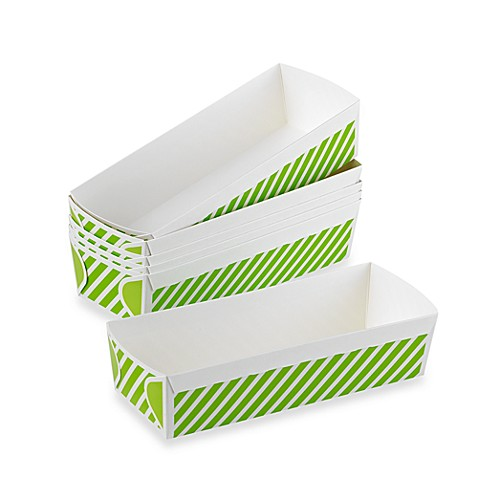 Rectangular Large Loaf Paper Baking Pans in Green Stripe (Set of 6)