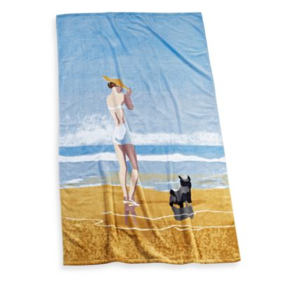Beach Girl Dog Beach Towel