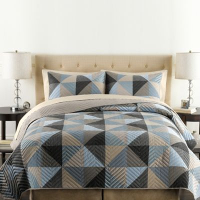 Triangle Standard Pillow Sham in Blue