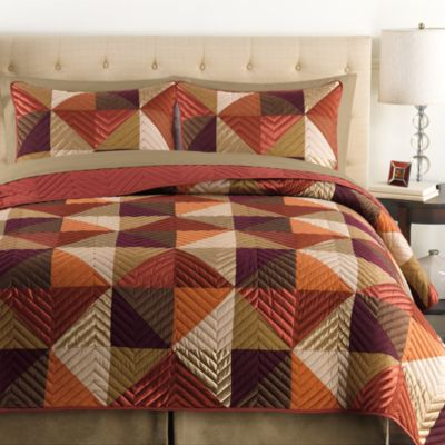Triangle Twin Quilt in Rust