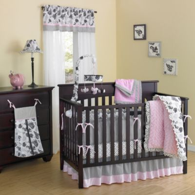New Country Home Versailles Pink Minky Plush 10-Piece Crib Bedding Set