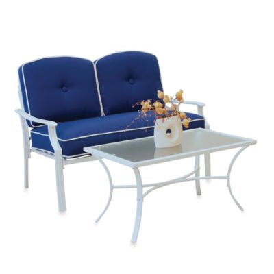 Hawthorne 2-Piece Deep Seating Loveseat Set in Blue