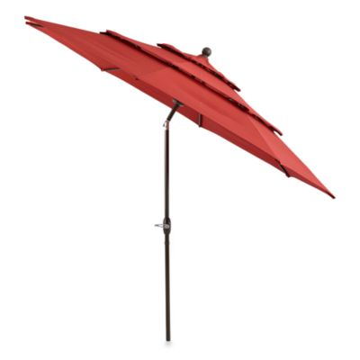 10-Foot Round Triple-Vent Aluminum Umbrella in Salsa