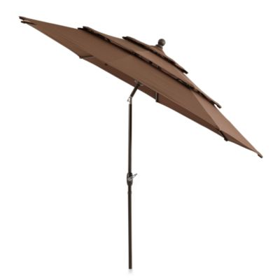 10-Foot Round Triple-Vent Aluminum Umbrella in Chocolate