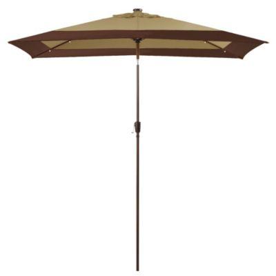11-Foot Rectangular Aluminum Solar Patio Umbrella in Border Stripe