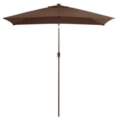 11-Foot Rectangular Aluminum Solar Patio Umbrella in Chocolate
