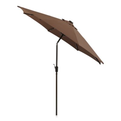 9-Foot Round Solar Aluminum Patio Umbrella in Chocolate