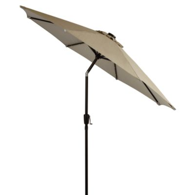 9-Foot Round Solar Aluminum Umbrella in Chino