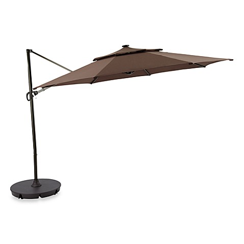 11-Foot Round Solar Cantilever Umbrella in Chocolate