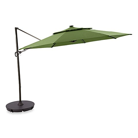 11 Foot Round Solar Cantilever Umbrella In Fern Bed Bath