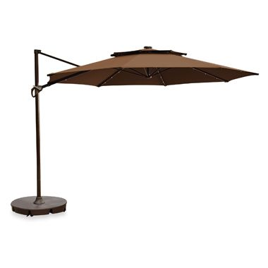 11-Foot Round Solar Cantilever Umbrella in Latte
