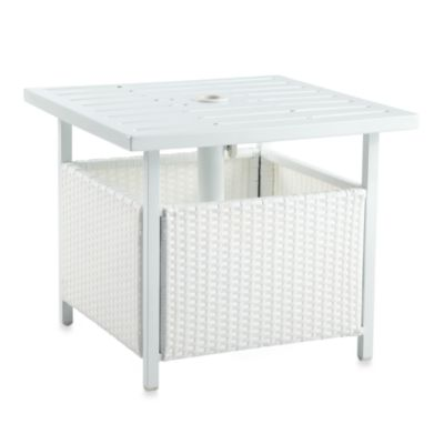 All-Weather White Wicker Accent Umbrella Base Side Table