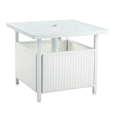 Wicker Umbrella Side Table In White Bed Bath Amp Beyond