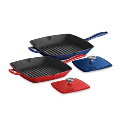Tramontina® Gourmet Cast Iron Series 1000 11-Inch Grill Pan with Press in Red