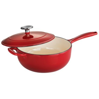 Tramontina® Gourmet Cast Iron Series 1000 3-Quart Covered Saucier - Red