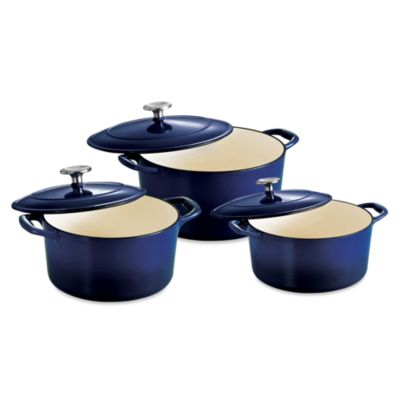 Tramontina® Gourmet Cast Iron Series 1000 Covered Round Dutch Ovens in Cobalt Blue