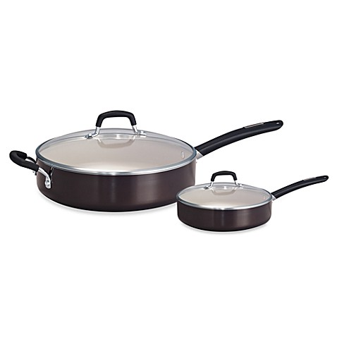 Tramontina® Gourmet Porcelain Enamel Covered Deep Saut© Pans in Black Cherry