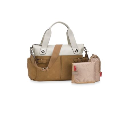 Storksak® Kate Diaper Bag in ColorBlock Stone/Tan