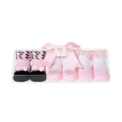 Girls 0-9 Months Party Socks in Pink (Set of 3)