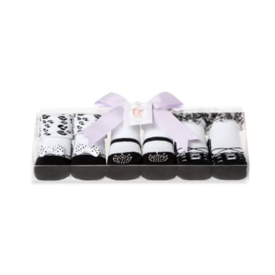 Girls 0 to 9 Months Party Socks in Black (Set of 3)