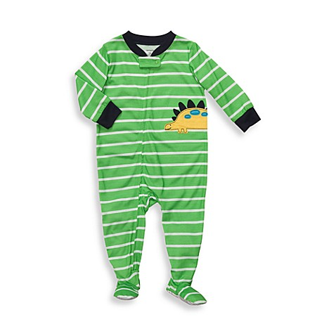Carter's® Green Striped Dinosaur Snug-Fit Jersey 1-Piece PJ - 12 Months