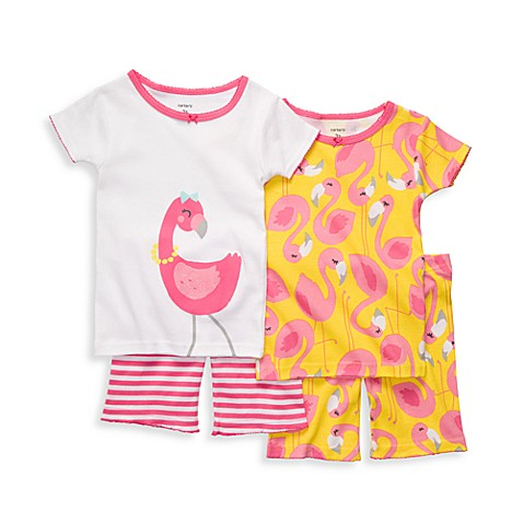 Carter's® Pink Flamingo Snug-Fit Size 12 Months Cotton 4-Piece PJs