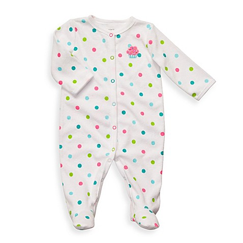 Carter's® White Dot Terry Snap-Up Sleep & Play