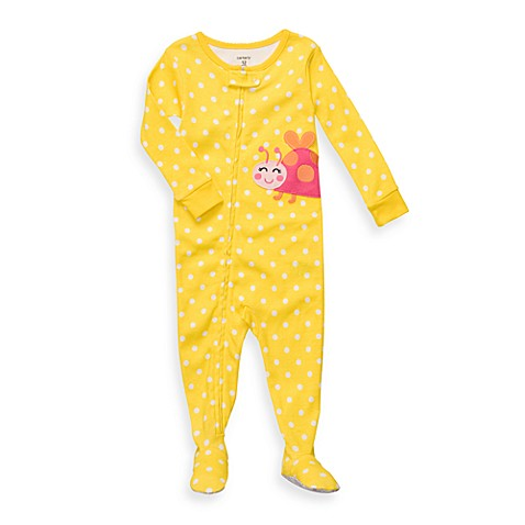 Carter's® Dot Ladybug Snug Fit Cotton 1-Piece Size 9 Months PJ in Yellow