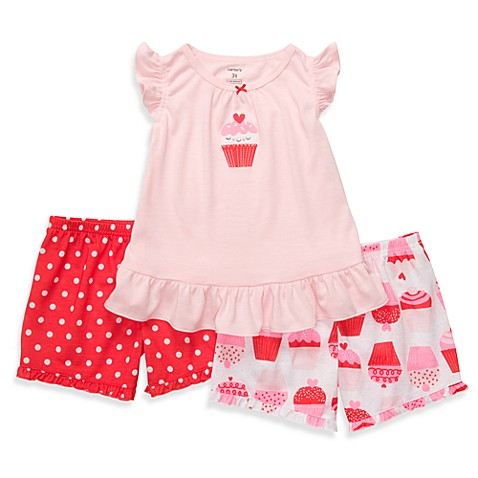 Carter's® Red Cupcake Snug-Fit 3-Piece Short PJs - 12 Months