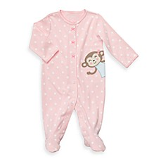 Carter's® Pink Dot Monkey Cotton Snap-Up Sleep & Play