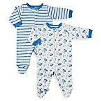 Gerber® Blue Hippo Organic Zip-Up Sleep n Play 2-Pack