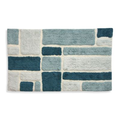 Lacey Blue Geometric Shapes Bath Rug