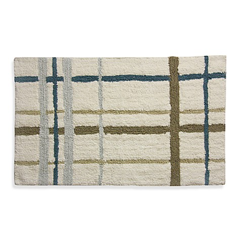 Lacey Blue Plaid Bath Rug