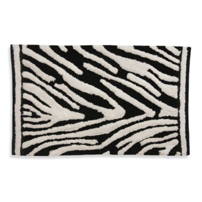Lacey Zebra Black and White Bath Rug