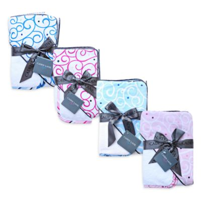 Caden Lane® Luxe Hooded Towel and Washcloth Set in Light Blue Swirl