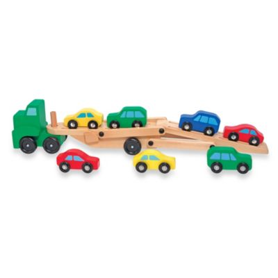 Melissa & Doug® Car Carrier Truck and Cars Wooden Toy Set