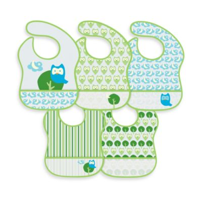 green sprouts® by i play.® 5-Pack Waterproof Eva Bib in Owl