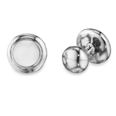 Robin Rotenier Sterling Silver Globe Cufflinks w/Mother of Pearl