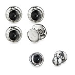 Robin Rotenier Sterling Silver Globe w/Black Star Diopside Cufflinks and/or Studs