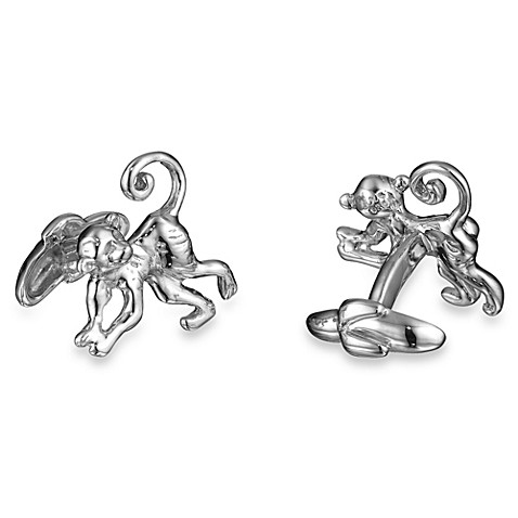 Robin Rotenier Sterling Silver Spider Monkey and Banana Cufflinks