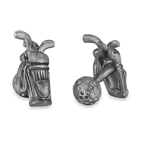 Robin Rotenier Sterling Silver Golf Bag and Ball Cufflinks