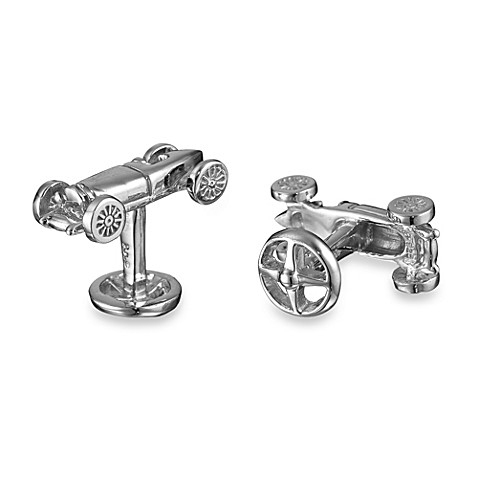Robin Rotenier Sterling Silver 1950's Sports Car and Steering Wheel Cufflinks