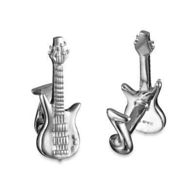 Robin Rotenier Sterling Silver Guitar and Note Cufflinks