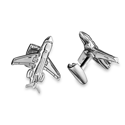 Robin Rotenier Sterling Silver Private Jet and Engine Cufflinks