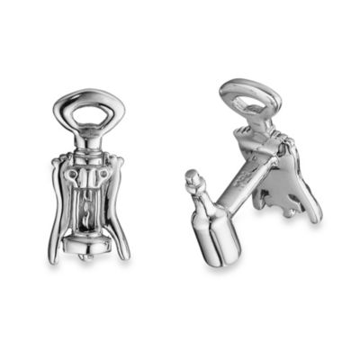 Robin Rotenier Sterling Silver Corkscrew and Wine Bottle Cufflinks