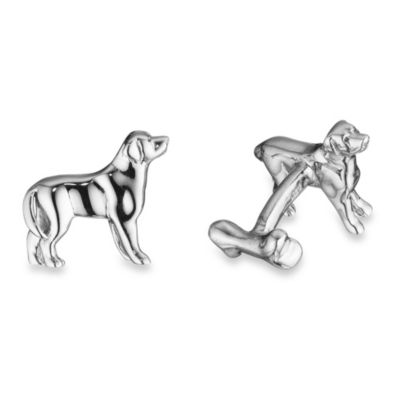 Robin Rotenier Sterling Silver Labrador and Bone Cufflinks